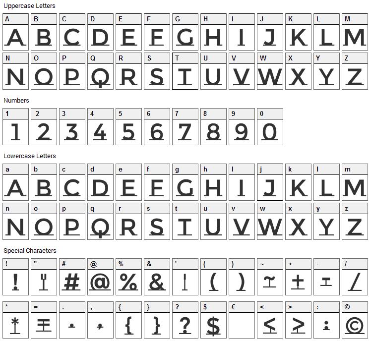 Montserrat Subrayada Font Character Map
