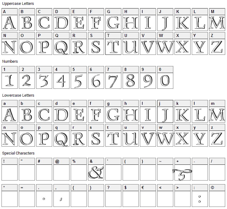 Monument Font Character Map