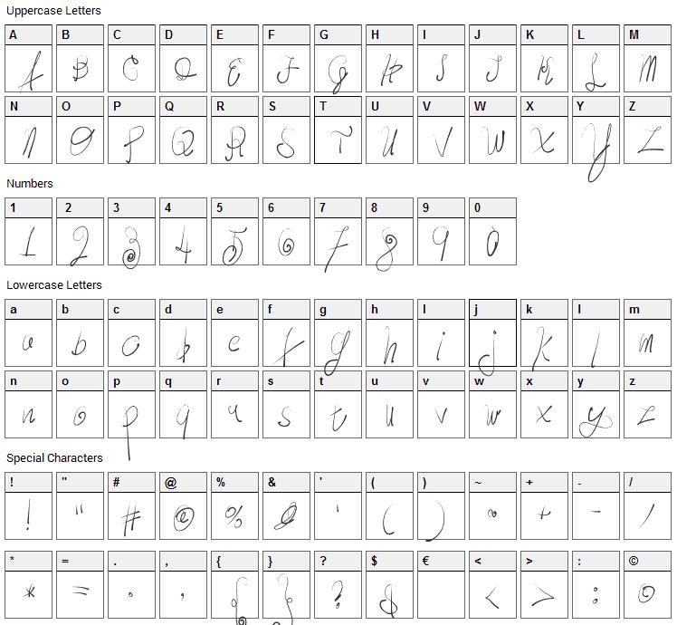 Moody Boys Font Character Map