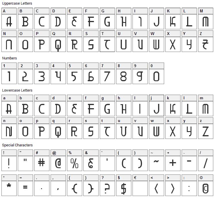 Moon Dart Font Character Map