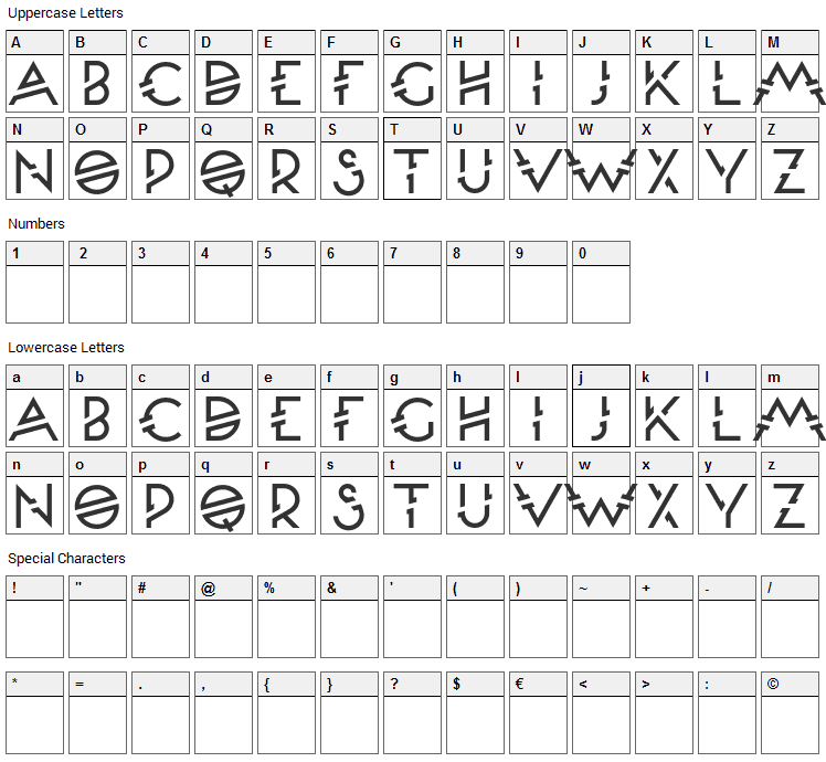 Moondance Font Character Map
