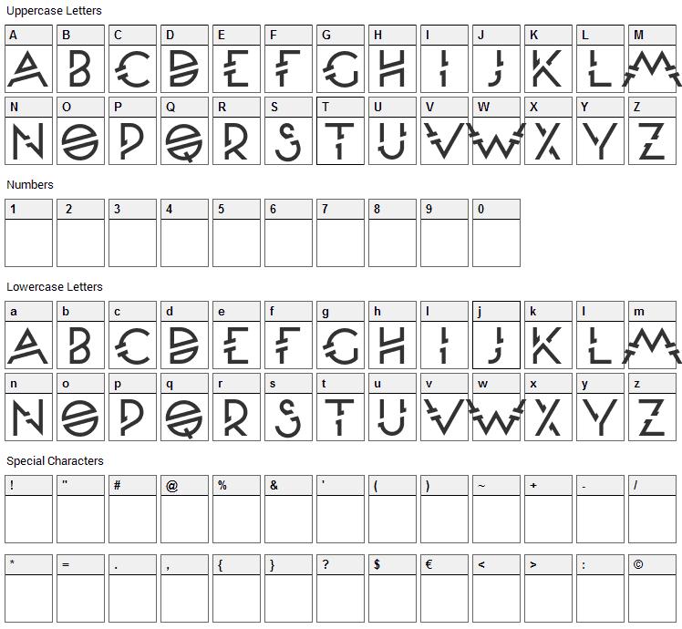Moondance Font Character Map