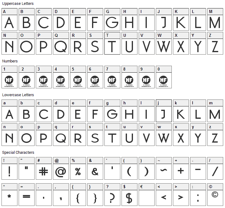 Moonglade Font Character Map