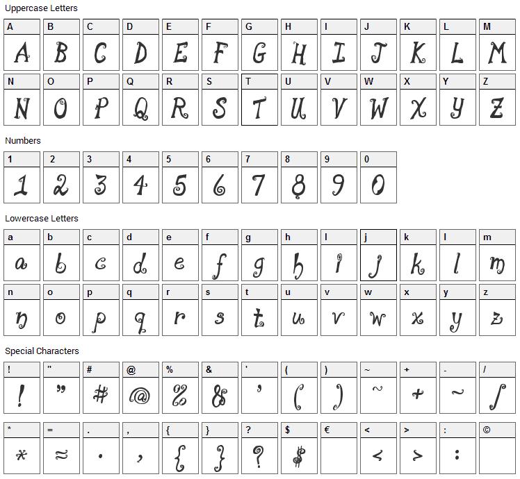 Moonpie a la monde Font Character Map