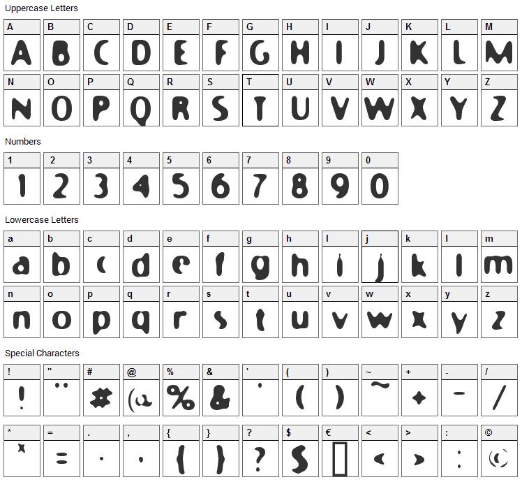 Moony Cat Font Character Map