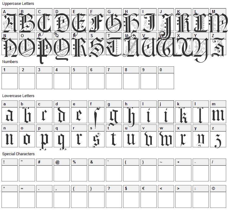 Morcrepito Font Character Map