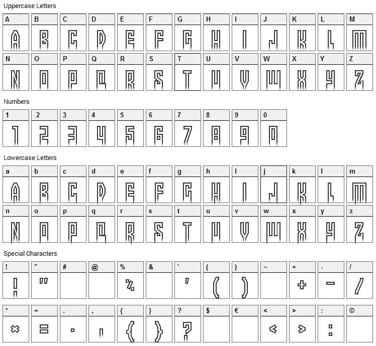 More than human Font Character Map