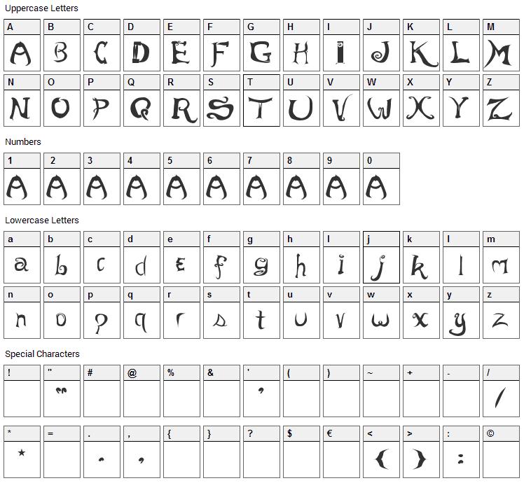 Morevil Font Character Map