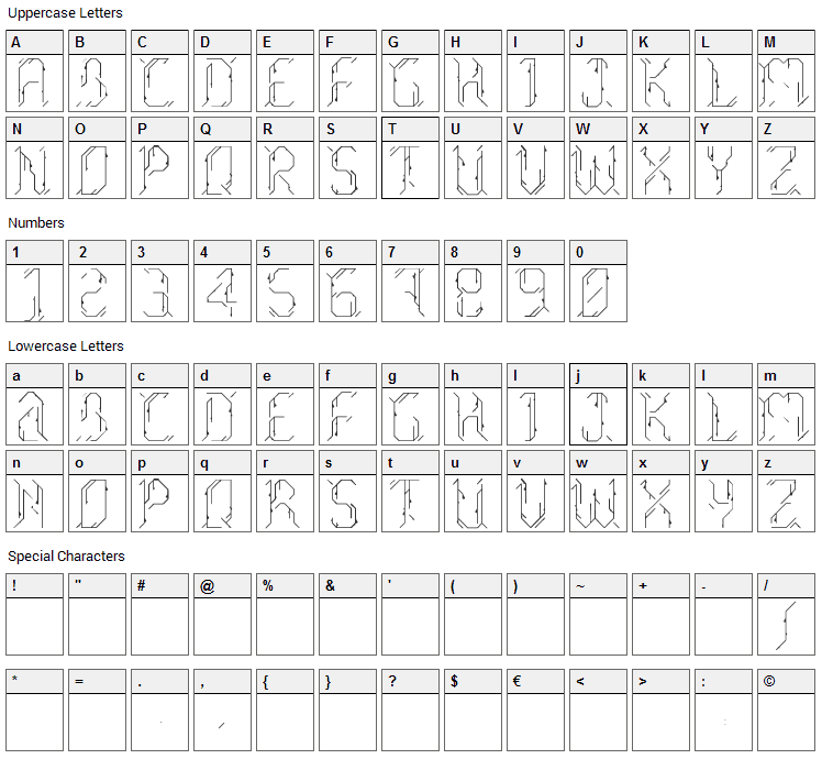 Morgenstern Font Character Map
