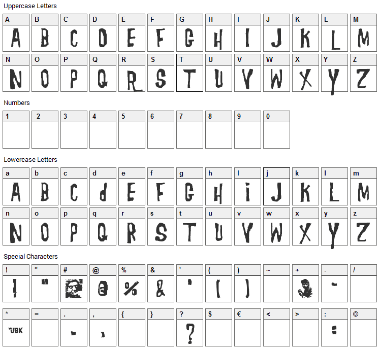 Morgus the Magnificent Font Character Map