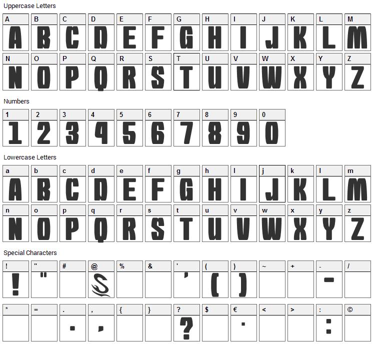 Morning Karashi Font Character Map