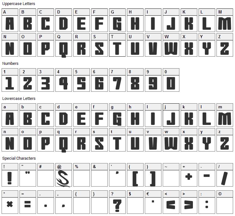Morning Wasabi Font Character Map