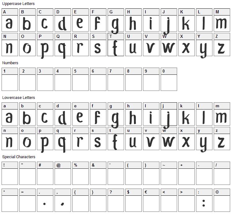 Moro Seneng Font Character Map