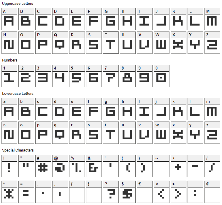 Morohashi Font Character Map