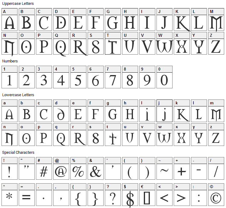 Morpheus Font Character Map