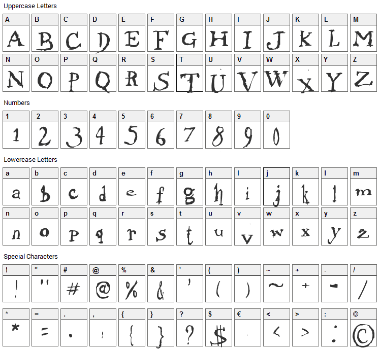 Morphine Jack Font Character Map