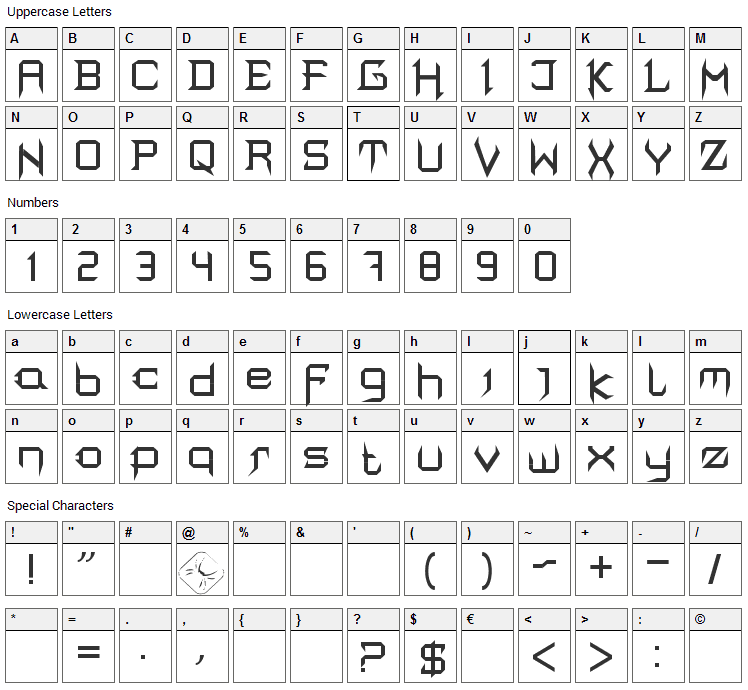 Mortis Font Character Map