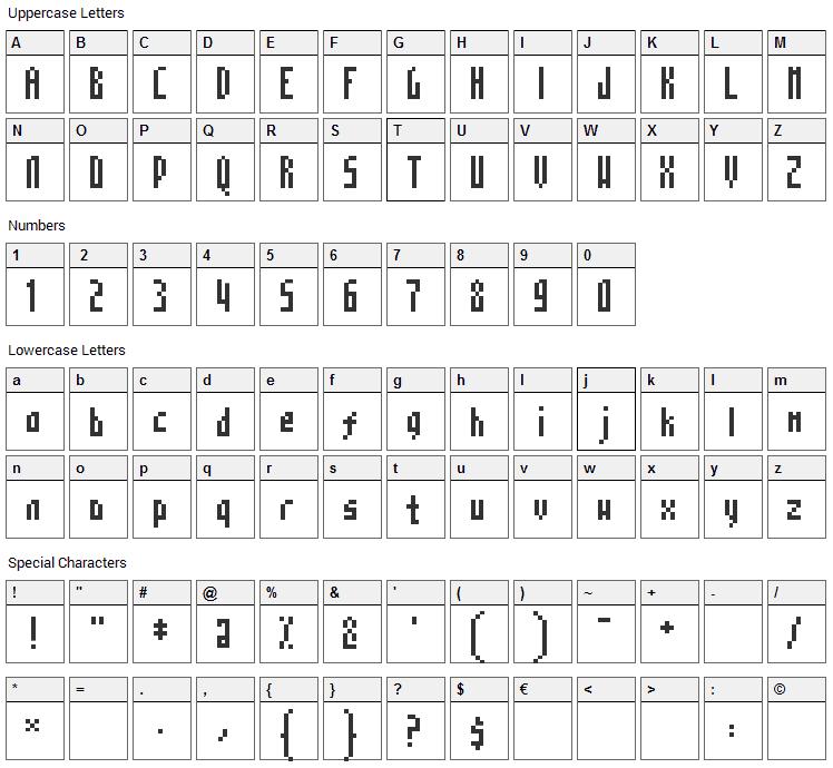 Mosaico Font Character Map