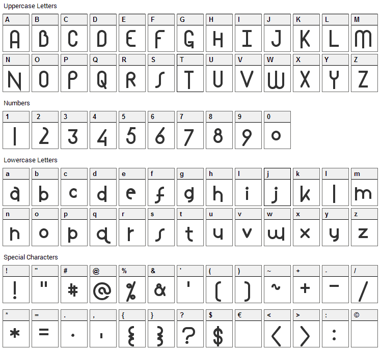 Mostlios Font Character Map