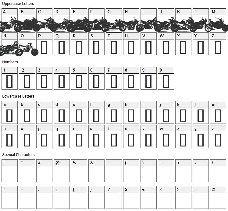 Motor Bikez Font Character Map