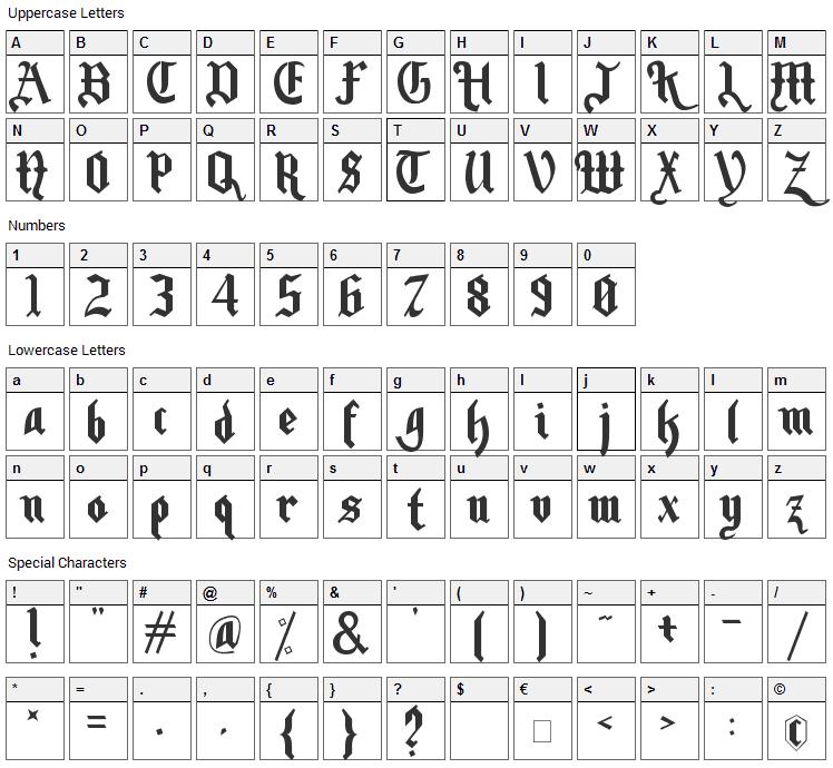 Motorhead Font Character Map