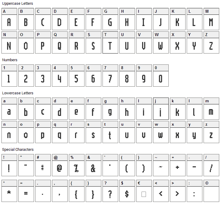 Motorola ScreenType Font Character Map