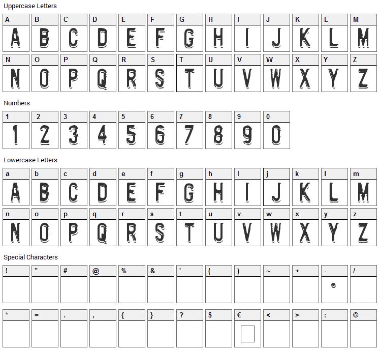 Motorway Font Character Map