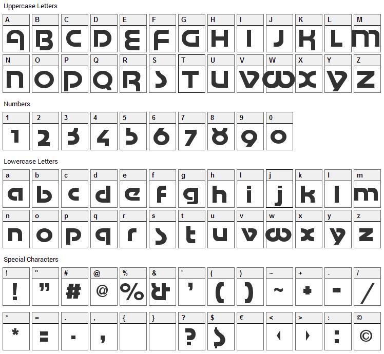 Mottek Font Character Map