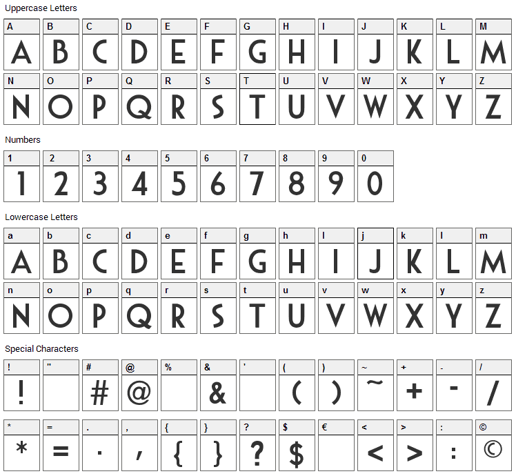 Mouse Deco Font Character Map