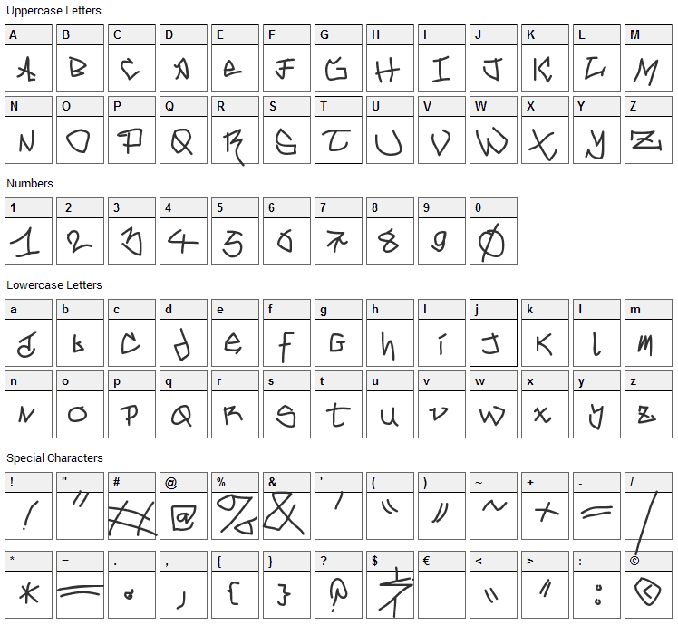 Mouse Graffity Font Character Map