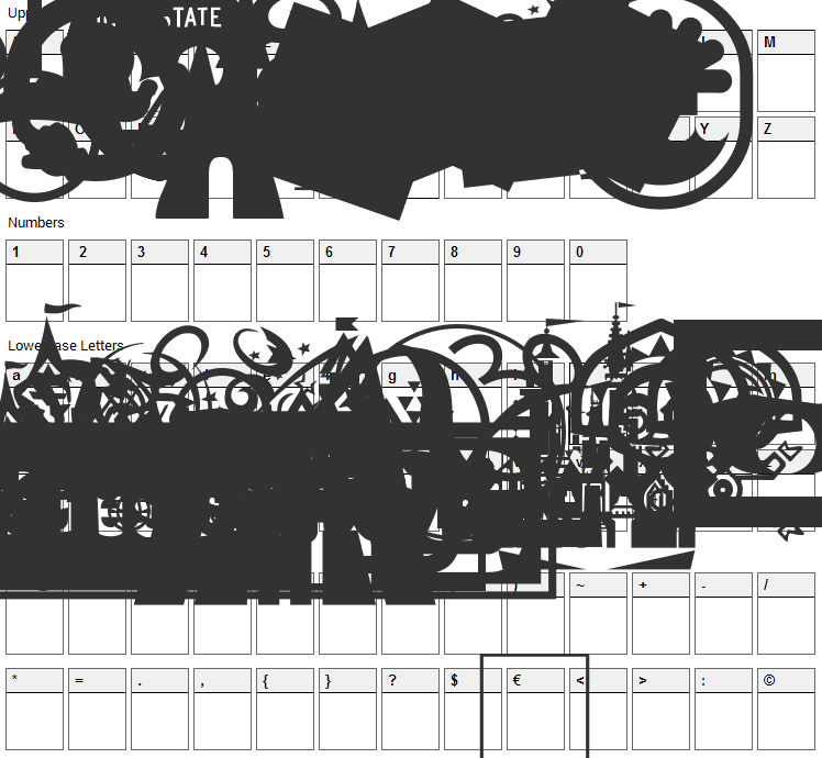 Mouse Tags Font Character Map