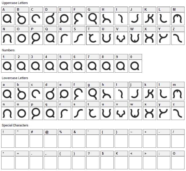 Mozzie Font Character Map
