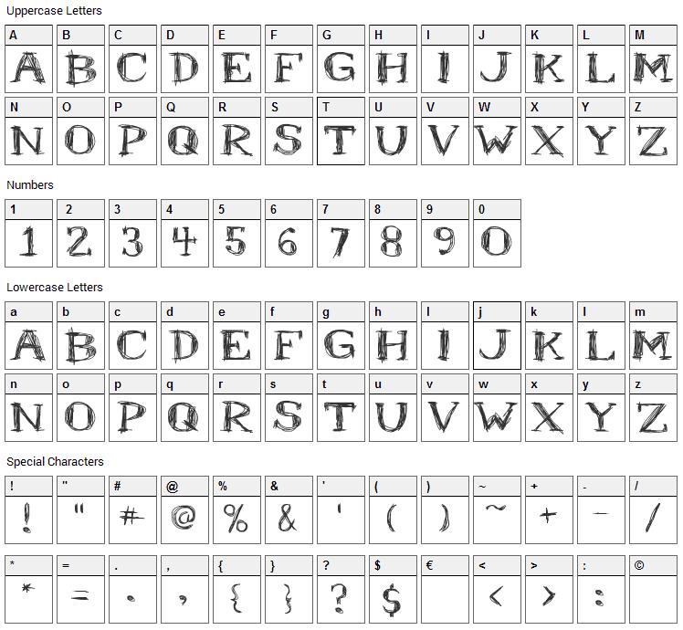 Mr. B Font Character Map
