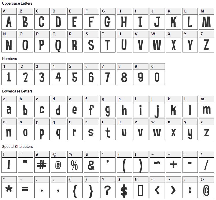 Mr. Bubble Font Character Map