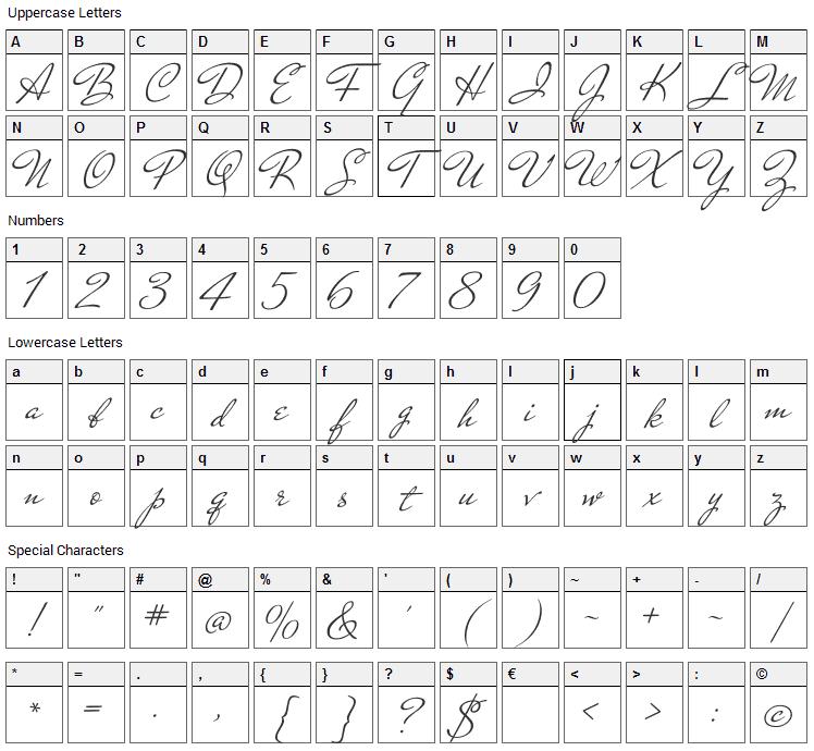 Mr De Haviland Font Character Map