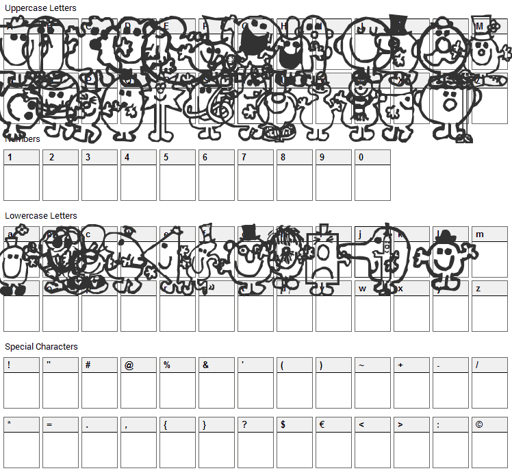 Mr Men Font Character Map