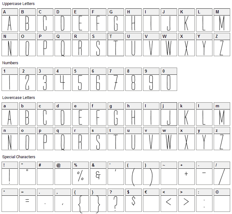 Mr. Quincy Font Character Map