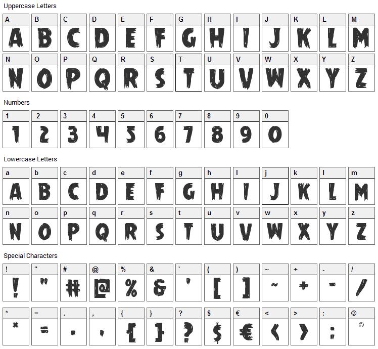 Mrs. Monster Font Character Map