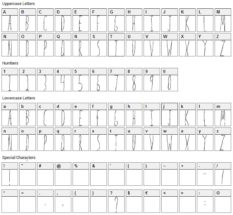 Mrs Strange Font Character Map