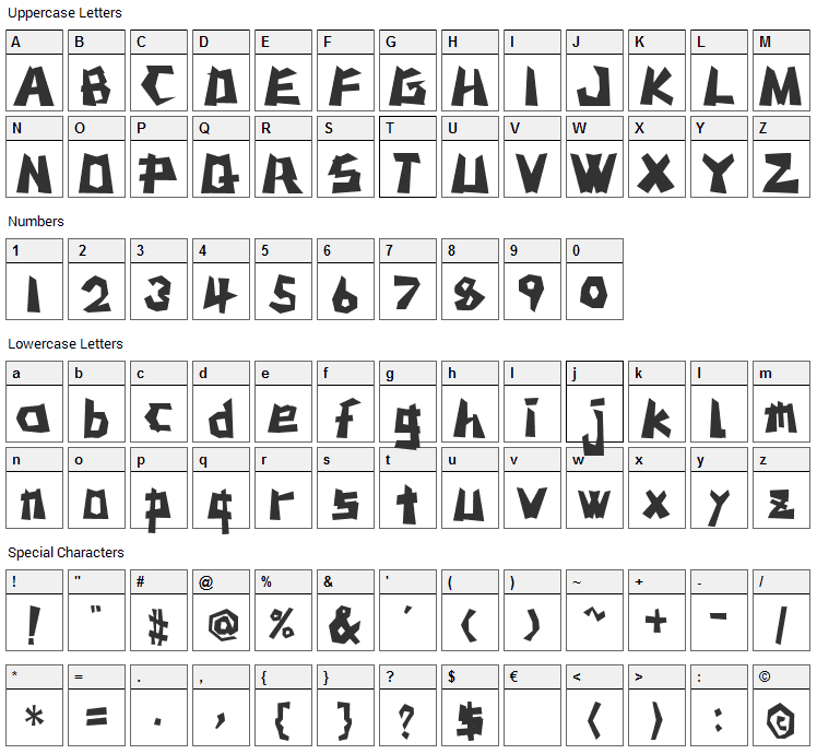 MSTK Rufcut Font Character Map