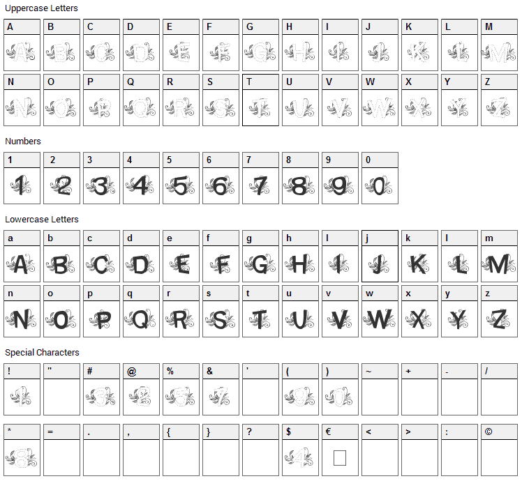 MTF Base Dash Leafy Font Character Map
