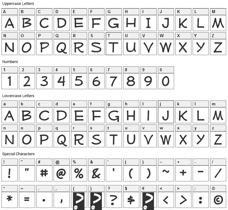 Mufferaw Font Character Map