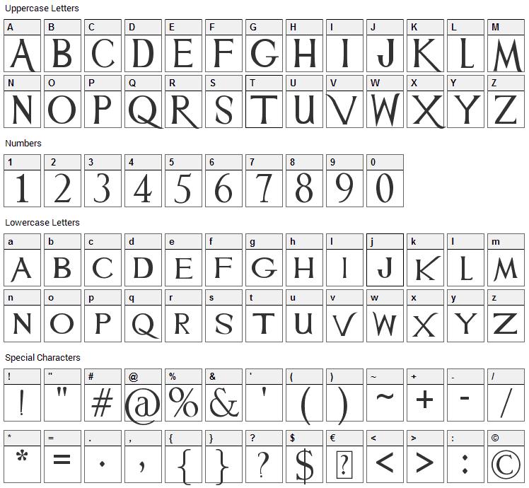 Mulan Font Character Map