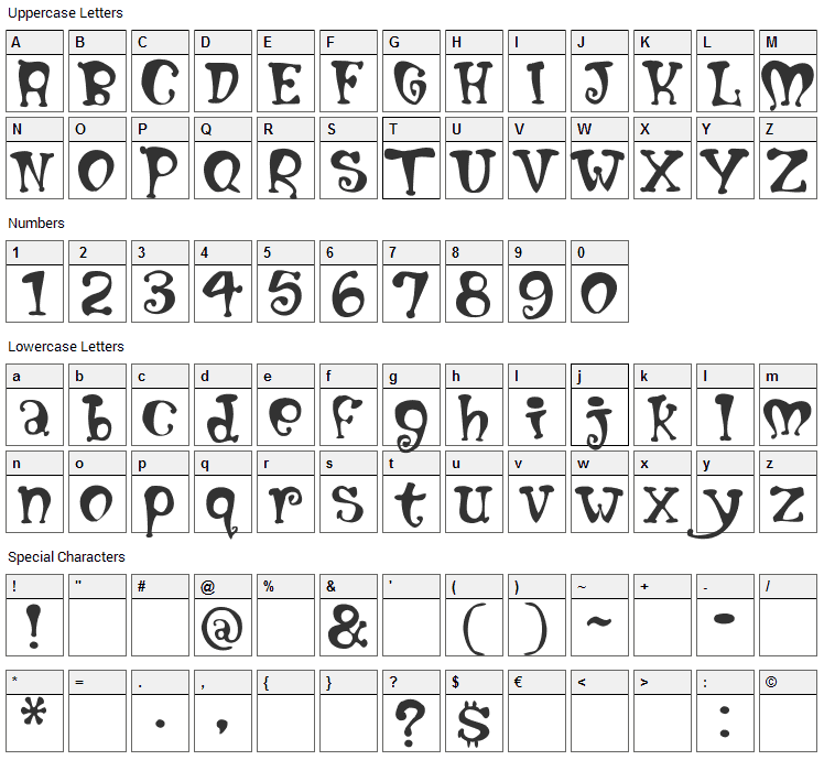 Mumblypegs Font Character Map