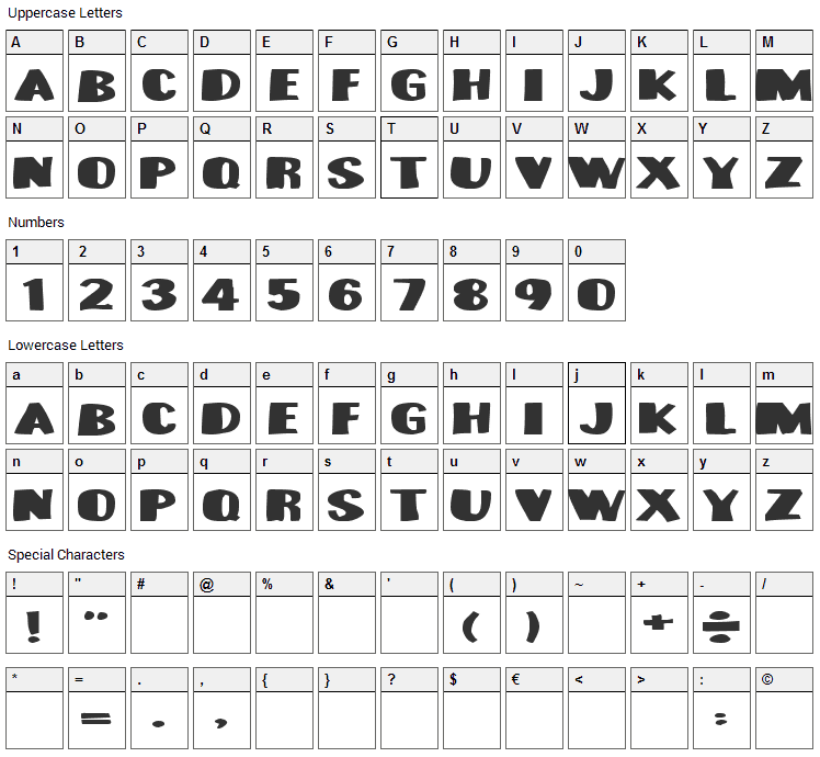 Munster Bash Font Character Map