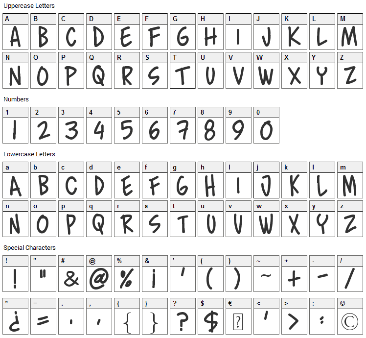 Murro Font Character Map