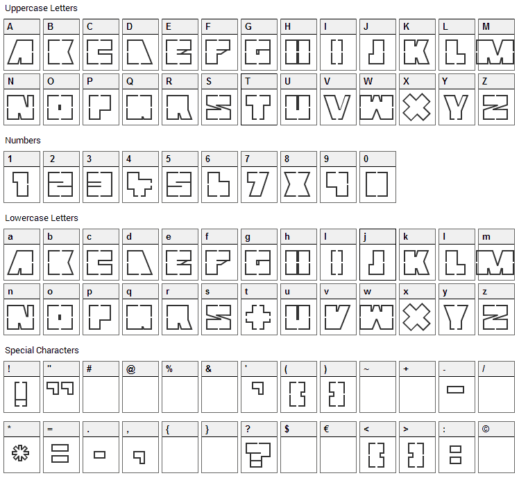 Mutter Font Character Map