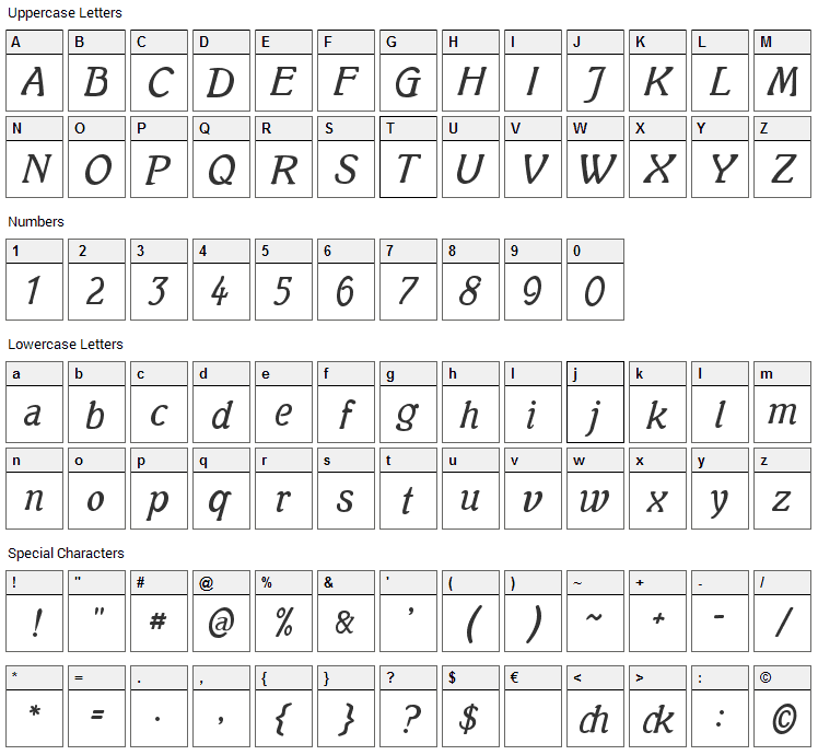 Mutter Krause Font Character Map