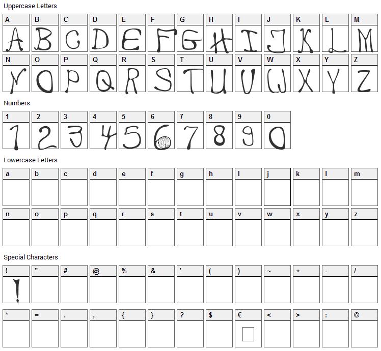 My Handwriting Font Character Map