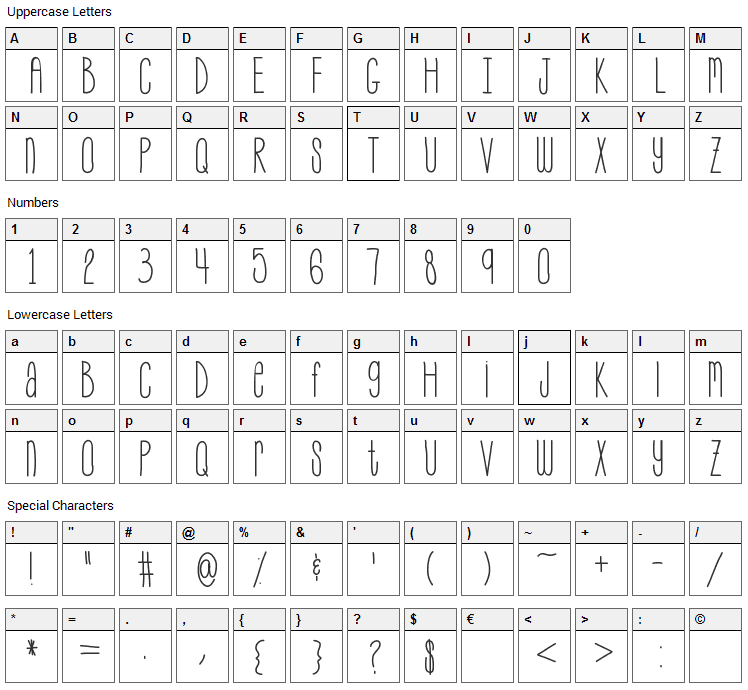 My Skinny Jeans Font Character Map